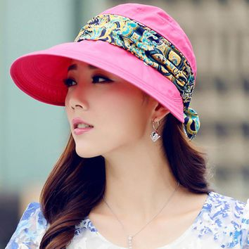 Wide Brim with Sun Hat with Bandana