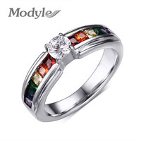 Men and Women Rainbow Ring the Zircon Crystal Rainbow Gay Pride Ring Fine
