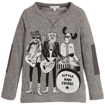 Little Marc Jacobs Boys Grey Animal Band Printed T-shirt