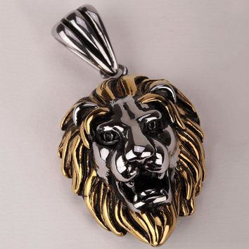 SHIPS FROM USA Lion necklace for men women 316L stainless steel pendant W/ chain GN06 antique gold silver biker jewelry