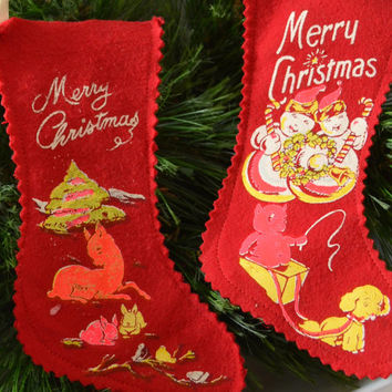 Vintage Set of 2 Felt Printed Merry Christmas Stocking Ornaments