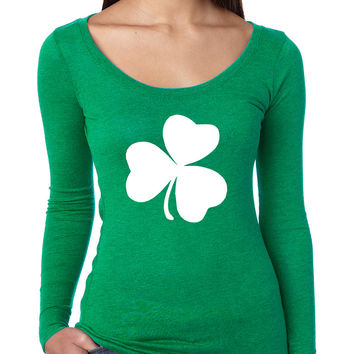 Women's Shirt White Shamrock Graphic St Patrick's Day Cool Top
