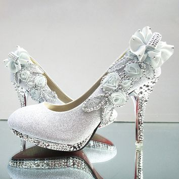 Women Rhinestone High-heeled Shoes Wedding Shoes Platform Bridal Shoes Glitter Shoes