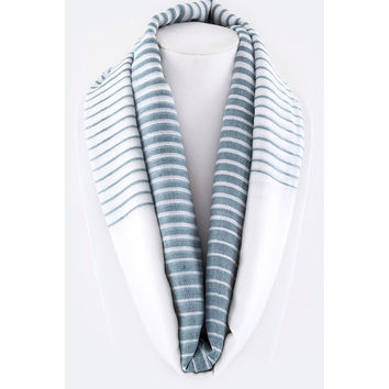 Navy & White Ombre Striped Infinity Scarf