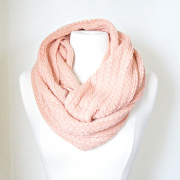 Chunky Braided Cable Knit Peach Infinity Scarf, Winter White Knit Circle Loop Scarf, Women Accessories Scarves, Fashion Accessories