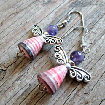 Angel Earrings - Paper Bead Earrings - Upcycled, Recycled, Repurposed - First Anniversary Gift - 1st Anniversary Gift - Gift for Wife