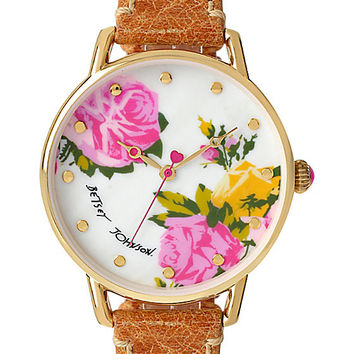 BJS SLIM COGNAC AND GOLD FLORAL WATCH COGNAC