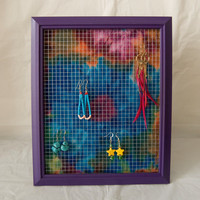 Fun Tie Dye Purple Earring Holder Frame Display