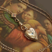 VICTORIAN Turquoise HEART Locket Chatelaine Long Muff Watch CHAIN Sautoir Turquoise Pearl Sapphire Slide, Antique Rose Gold Jewelry c.1880's