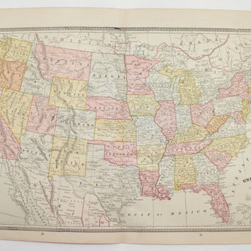 United States Map 1885 Antique Map of United States, Vintage USA Map, US Historical Map, US Vintage Decor Gift, Vintage Geography Art