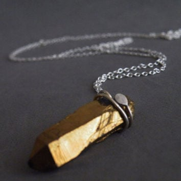 Gold Quartz Stick Necklace Raw Gold Quartz Sterling Silver Boho Necklace Raw Quartz Jewelry by SteamyLab