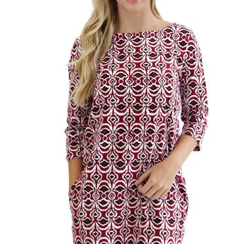Garnet Black Splash Ashley Boatneck Dress