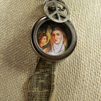 Our Lady Madonna Reliquary Watch Case Charm Pendant Necklace Unusual Religious Consecration Mother Child Wearable Art Louzart Mixed Media