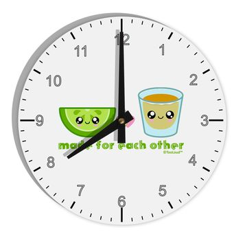 "Cute Tequila Shot and Lime - Made For Each Other 8"" Round Wall Clock with Numbers by TooLoud"