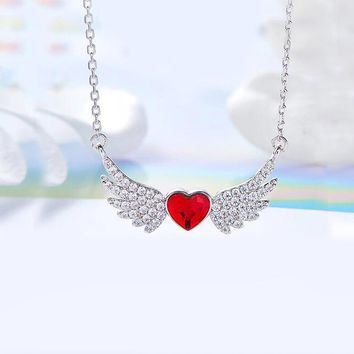 Ruby Heart Shaped Wings Pav'e Angel Statement Necklace in 14K White