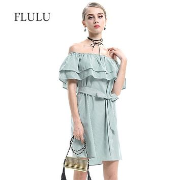 FLULU Casual Summer Dress Women 2018 Vintage Sexy Off Shoulder Striped Ruffle Dress Slim Female Elegant Mini Beach Party Dresses