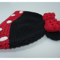 "Crochet hat, Baby beanie, girl hat, hat for girls, newborn hat, head accessories - Minnie's Inspiration-Red Version- Up to adult 58 cm (22"")"