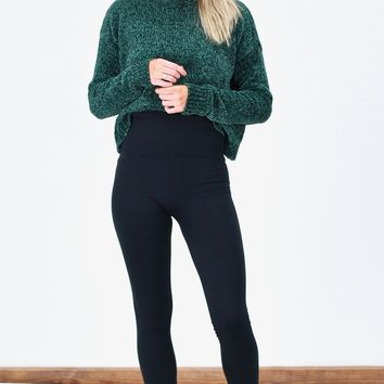 Tummy Control High Waisted Fleece Lined Leggings {Black}