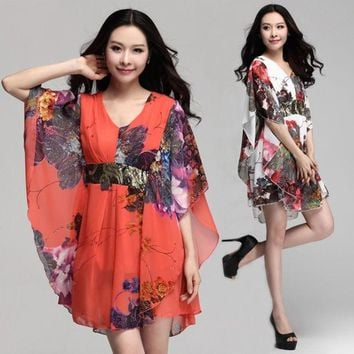 LMFUG3 7525# bronzier paillette patchwork loose plus size chiffon one-piece V-neck women dress summer maternity clothes for pregnant = 1946631748