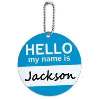 Jackson Hello My Name Is Round ID Card Luggage Tag