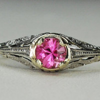 Vintage Antique Pink Tourmaline Diamond Accent Filigree Promise Engagement Alternative Ring 14k Gold 585 Size 7.25 Art Deco