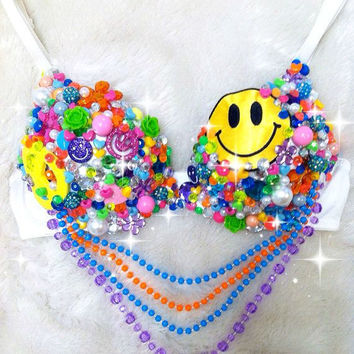Peace, Love, Happy Rave Bra