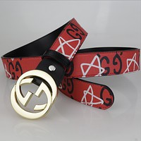 GUCCI new belt men's leather belt smooth buckle business belt with a young neutral belt Red + gold buckle