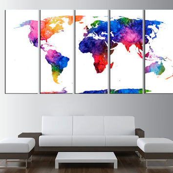 rustic world map canvas art print, large world map wall art, watercolor world map extra large wall art, world map canvas print art t413