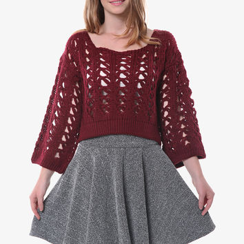 Retro Open Weave Burgundy Sweater