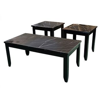 T4718 Faux Black Marble Cocktail Table & Two End Tables