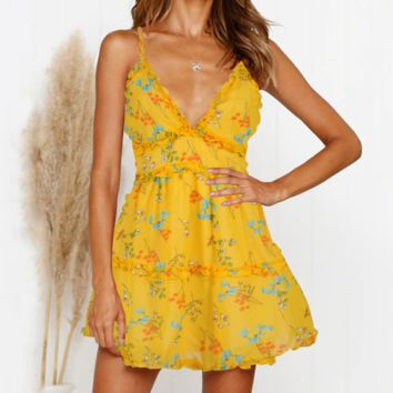 Fashion New Floral Print Plaid Print Straps Dress Women Yellow