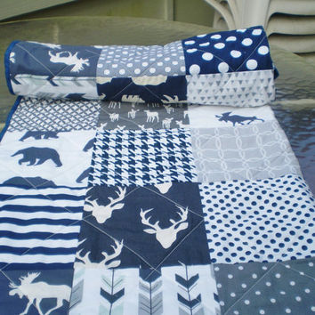 Baby quilt-baby girl quilt, baby boy bedding,woodland rustic quilt,toddler,grey,navy blue,moose,deer,bear,arrows,chevrons,Woodsy Silhouette