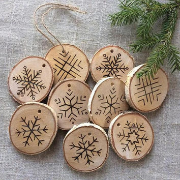 set of 10 etched snowflake ornaments in birch wood slice christm christmas rustic christmas - Rustic Christmas Ornaments