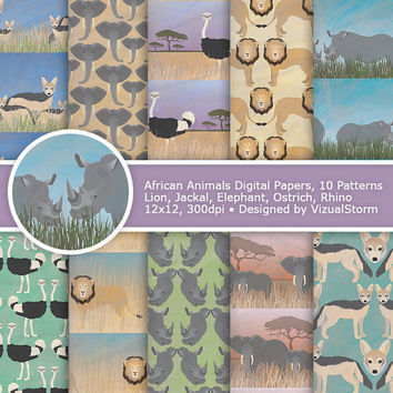 African Animals Digital Paper, Printable Safari Animal Patterns, Jungle Animals Scrapbook Papers Rhino, Ostrich, Jackal, Lion and Elephant