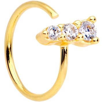 "20 Gauge 5/16"" Clear CZ Gem Trio Gold Tone Seamless Circular Ring"