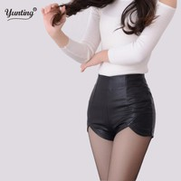 2017 New Fashion Summer Women's Sexy Black Red PU High Waist Shorts Vintage Slim Slit High quality size S-2XL Leather Shorts