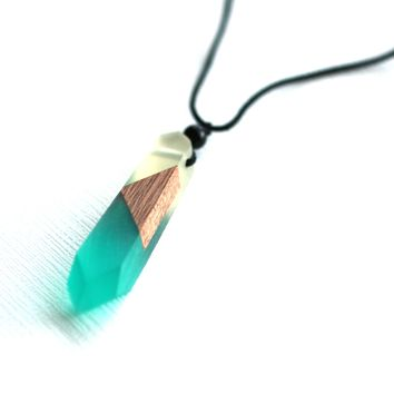 Turquoise & White Resin and Wood Geometric Tie Necklace