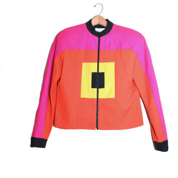 Colorblock Blazer Color Block Blazer Color Block Jacket Neon Blazer Neon Jacket Colorblock Jacket Morgan Miller Blazer Size 6