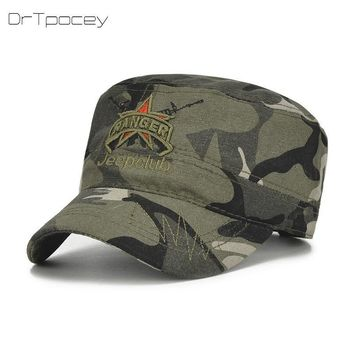 Trendy Winter Jacket 2018 Army Camouflage Flat Top Cap Men&Women Snapback Dad Hat 100% Cotton Outdoor Sports Camo Baseball Hat Casquette Cap Sun Hats AT_92_12
