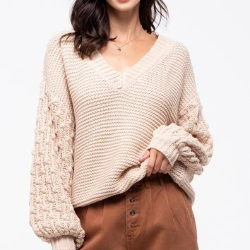 Back Button Knit Sweater with Balloon Sleeves - Oatmeal