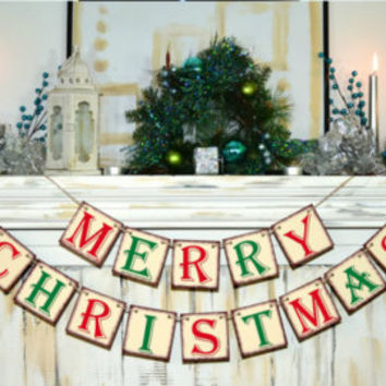 MERRY CHRISTMAS BANNER Christmas Banner - Christmas Photo Prop Banners