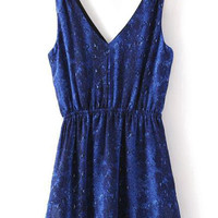 Blue Print Plunging Neck Sundress