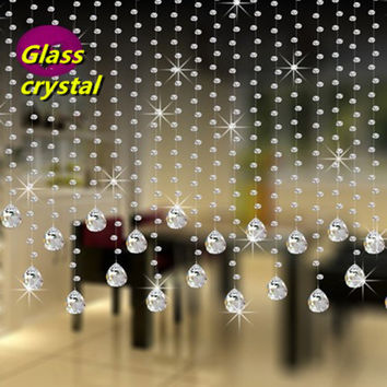 5 strings 100CM height  octagonal crystal clear beads glass Partition shopwindow Crystal beaded curtain Wedding decoration
