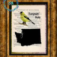 WASHINGTON State Black Silhouette Art, State Bird, State Nickname - Vintage Dictionary Page Art Print Upcycled Page Print