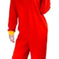 Sesame Street Adult One Piece Hooded Red Elmo Pajama