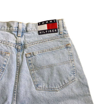 90s Tommy Hilfiger Jeans Logo Flag Patch Vintage Dad Denim Light Wash Tapered Leg Mens Hip Hop Denim Clothing 34x34