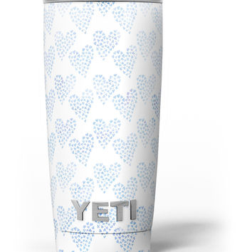 Blue Watercolor Hearts Pattern Yeti Rambler Skin Kit