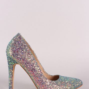 Glitter Encrusted Pointy Toe Stiletto Pump