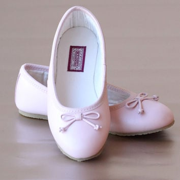 L'Amour Girls Pink Leather Ballet Bow Flats