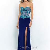 Strapless Blush Peacock Prom Dress 9961